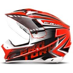 Capacete Motocross Pro Tork TH1 Vision Adventure Laranja/Branco