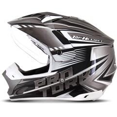 Capacete Motocross Pro Tork TH1 Vision Adventure Prata/Branco