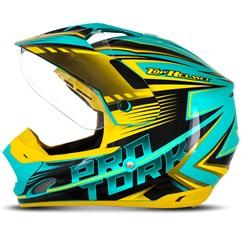 Capacete Motocross Pro Tork TH1 Vision Adventure Verde/Amarelo