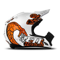 Capacete Motocross TH1 Jett Veneno Branco/Laranja