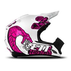 Capacete Motocross TH1 Jett Veneno Branco/Rosa