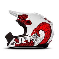 Capacete Motocross TH1 Jett Veneno Branco/Vermelho