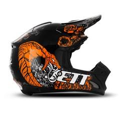 Capacete Motocross TH1 Jett Veneno Preto/Laranja