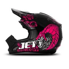 Capacete Motocross TH1 Jett Veneno Preto/Rosa
