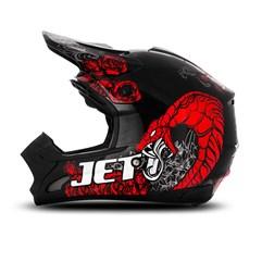 Capacete Motocross TH1 Jett Veneno Preto/Vermelho