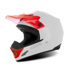 Capacete Motocross TH1 Solid Branco/Vermelho