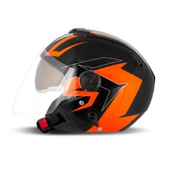 Capacete New Atomic Superbike Preto/Laranja SB4