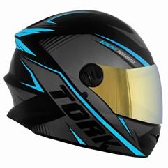 Capacete Pro Tork Moto Fechado R8 Azul Claro Viseira Dourada