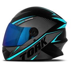 Capacete Pro Tork Moto Fechado R8 Azul Claro Viseira Iridium