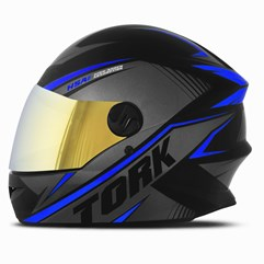 Capacete Pro Tork Moto Fechado R8 Azul Viseira Dourada
