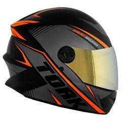 Capacete Pro Tork Moto Fechado R8 Laranja Viseira Dourada