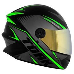 Capacete Pro Tork Moto Fechado R8 Verde Viseira Dourada