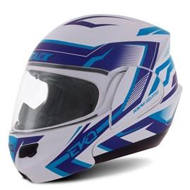 Capacete Robocop Pro Tork Attack Evo Branco/Azul Brilhante