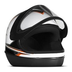 Capacete Super Sport Moto Branco/Laranja