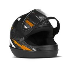Capacete Super Sport Moto Preto/Laranja