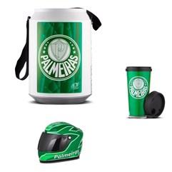 Cooler Térmico Cerveja Palmeiras Mini Capacete E Copo