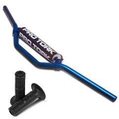 Guidão Alumínio Cross Alto Azul + Manopla MX2 Pro Tork