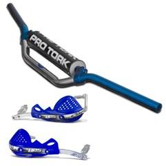 Guidão Motocross Pro Tork MX2 + Protetor de Mão HPS Azul