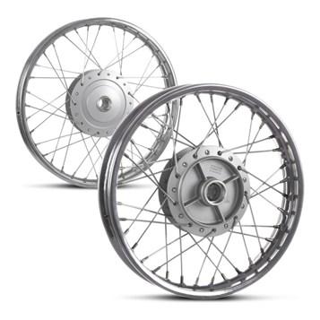 Kit Aros De Roda Montados Dianteiro e Traseiro Aço Biz 100 1998 Até 2005 Pro Tork