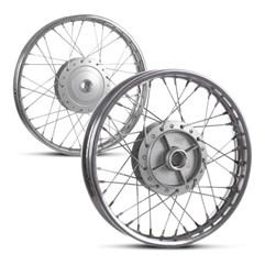 Kit Aros De Roda Montados Dianteiro e Traseiro Aço Biz 125 Pro Tork