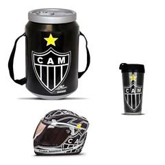 Kit Atlético Mineiro Cooler Térmico Mini Capacete e Copo Térmico