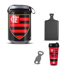 Kit Churrasco Cooler Copo Times + Abridor + Tábua Flamengo