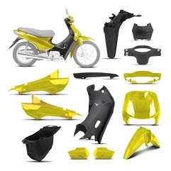 Kit Peças Plásticas Completo Biz 100 1998 Até 2005 Amarelo Solar 1998 - 1999