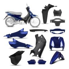 Kit Peças Plásticas Completo Biz 100 1998 Até 2005 Azul Andes 2000