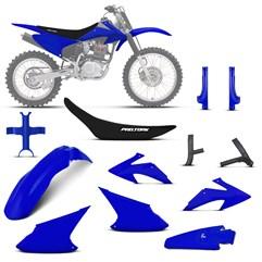 Kit Plástico Crf 230f 2008 À 2014 Azul + Protetores + Bloqueador + Capa de Banco