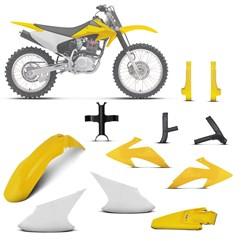 Kit Plástico Crf 230f 2008 À 2014 Branco - Amarelo + Protetores + Bloqueador