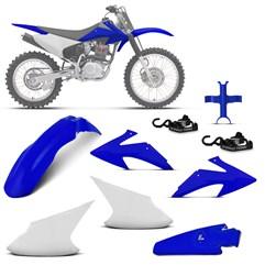 Kit Plástico Crf 230f 2008 À 2014 Branco - Azul + Esticador + Bloqueador