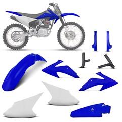 Kit Plástico Crf 230f 2008 à 2014 Branco - Azul + Protetor de Quadro e Bengala