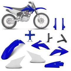 Kit Plástico Crf 230f 2008 À 2014 Branco - Azul + Protetores + Bloqueador