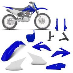 Kit Plástico Crf 230f 2008 À 2014 Branco - Azul + Protetores + Number Plate