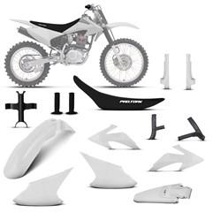 Kit Plástico Crf 230f 2008 À 2014 Branco + Protetores + Bloqueador + Capa + Manopla