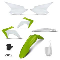 Kit Plástico Crf 230f 2015 a 2018 - 7 Itens Verde - Branco