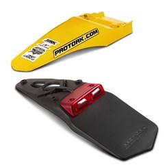 Paralama Traseiro Universal MX2 Amarelo + Lanterna Traseira Pro Tork