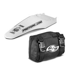 Paralama Traseiro Universal MX2 Branco + Bag De Ferramenta Pro Tork